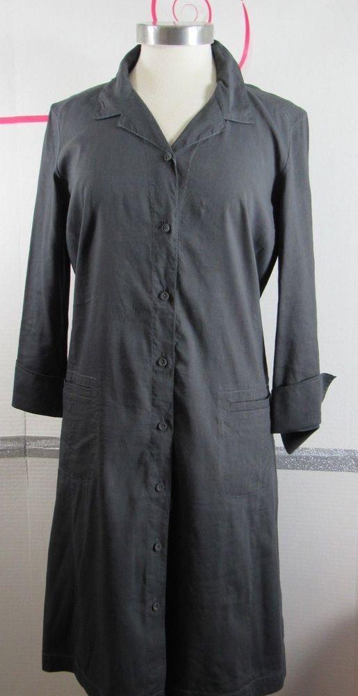 Eileen Fisher Shirt Dress Small Dark Gray Linen Blend Pockets Button Front Gruc Eileenfisher Shirtdress Anyoccasion Shirt Dress Eileen Fisher Dresses