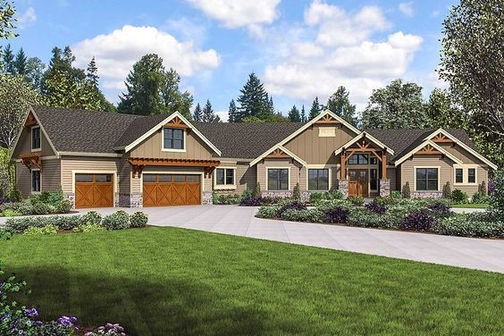 Plan 23706jd Mountain Craftsman Home Plan With Bonus Room And Optional Exterior Craftsman House Plans Craftsman House Ranch House Plans
