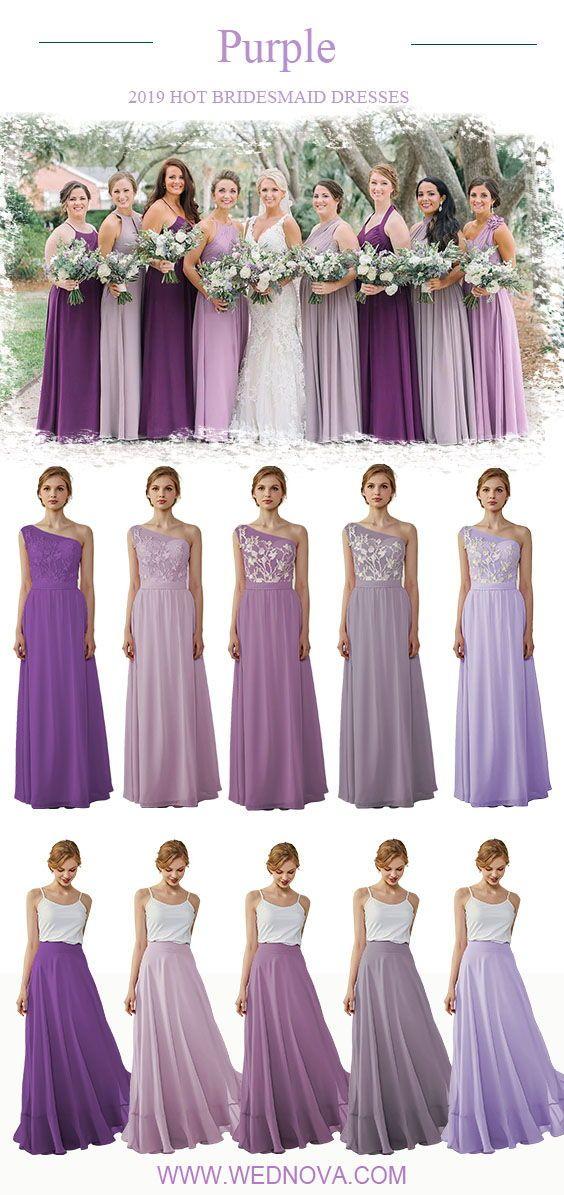 Purple Bridesmaid Dress Mixing One Shoulder Chiffon Dress Chiffon