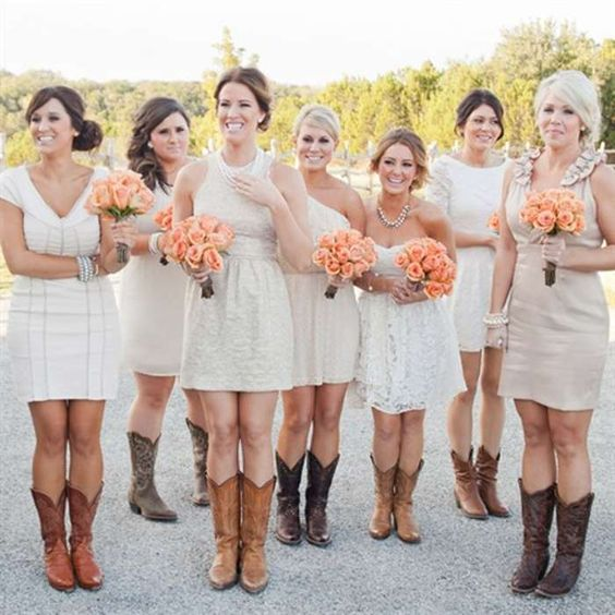 Long bridesmaid dresses with cowboy boots free reference for Short wedding dress with cowboy boots