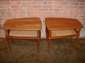 Exceptional pair of Danish teak/cane end tables - designed by Peter Hvidt & Orla Molgaard - Nielsen for France & Son - Denmark - these beauties are in very good condition and are made of solid teak - no veneers here :) - - measures - (SOLD)
