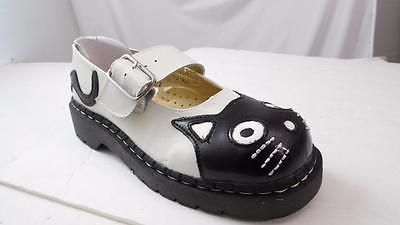TUK ANARCHIC BLACK WHITE LEATHERCAT FACE MARY JANES OXFORDS US 7 NOS T2006 PUNK