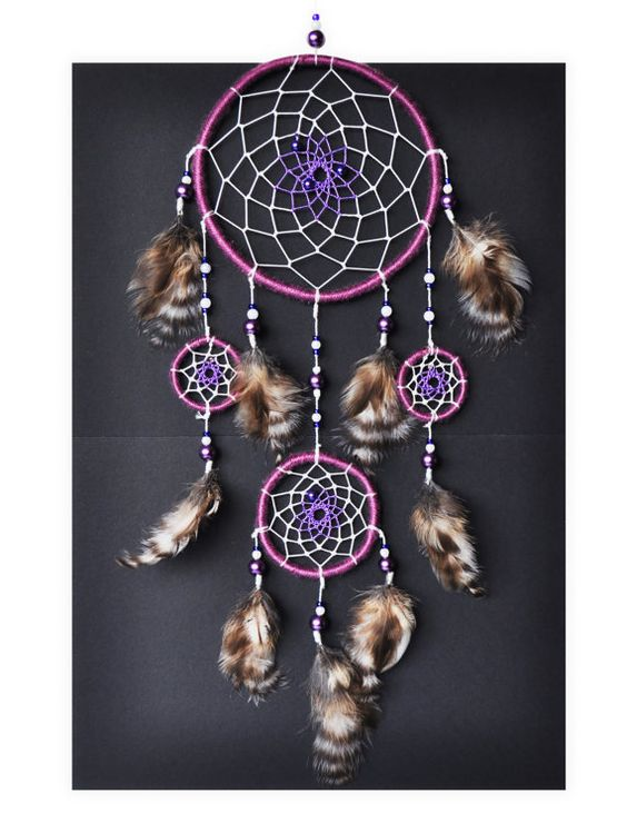 """Dreamcatcher """"Lavender"""" #grandpao #dreamcatcher #dream #catcher #wall #hanging #wallhanging #handmade #purple #amethyst #violet #plum #lilac #lavender #byzantium #feathers #native #american #tribal #big #etsy #gift #for #her #girl"""