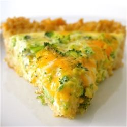 Broccoli cheddar quiche made with brown rice crust