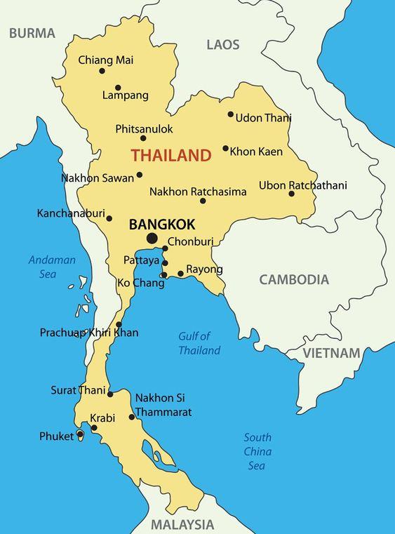 mapa tailândia - Preciso Viajar
