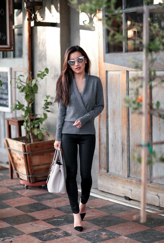 jbrand coated black skinny jeans cashmere wrap sweater outfit: