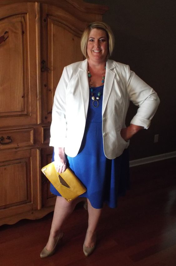 White Jacket over Royal Blue Dress ~ add a pop of color w/ the ...