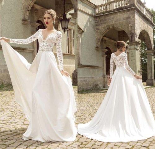Vintage Boho White Ivory Wedding Dresses A Line Long Sleeve Bridal Satin V Neck Long Sleeve Wedding Dress Lace Wedding Dress Long Sleeve Bridal Gowns