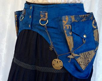 Wüste Festival Programm Gürtel - hochwertige Stoff Tasche Gürtel - blau anf gold Fanny Pack - Festival Taschen - Extra Small versandfertig