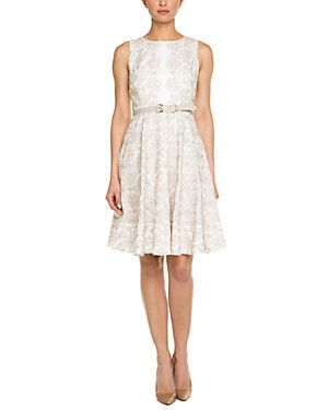 Anne Klein Chino & Camellia Belted Embroidered Floral Dress