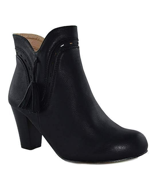 Women's Casual boots - Chase & Chloe Black Layered Paulani Ankle Boot