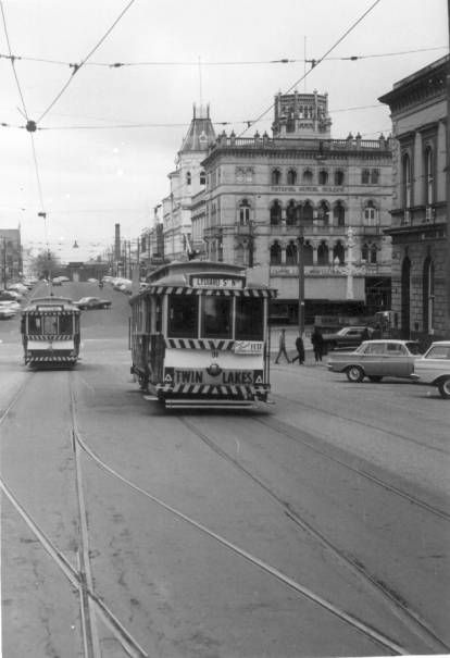 This is an old photo of the trams in Lydiard St... by the looks of the cars in the late 60's or early 70's just before their demise...
