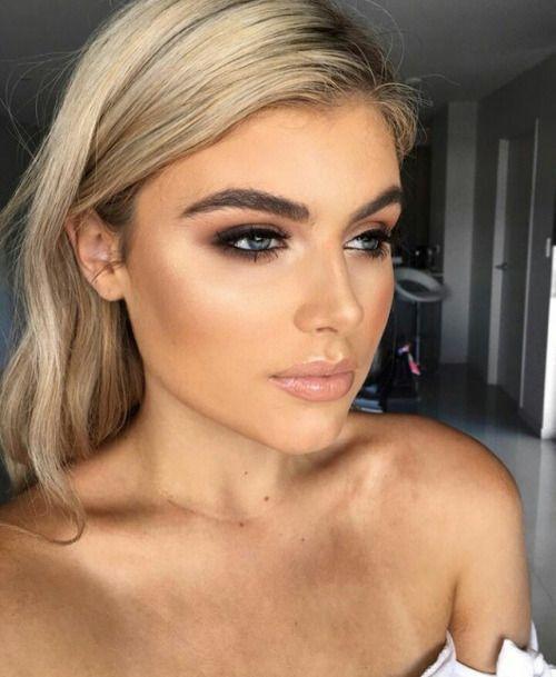 B R U W H O In 2020 Hooded Eye Makeup Wedding Makeup Natural Blonde Blue Eye Makeup