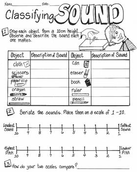 Printables Sound Science Worksheets sound energy classifying worksheets have your students carefully listening and sounds as loud or soft high pitched low they drop common objects on a desk top the