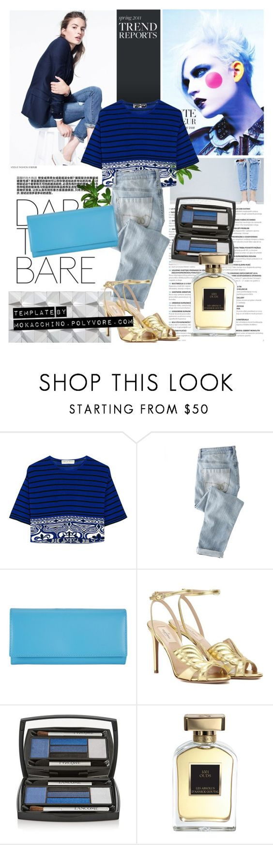 """CroppedKnittedTop"" by mokacchino ❤ liked on Polyvore featuring J.Crew, Emilio Pucci, Wrap, Comme des Garçons, Valentino, Lancôme and Annick Goutal"