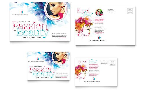 Cosmetology Postcard Template by @StockLayouts Cosmetology - postcard template for word
