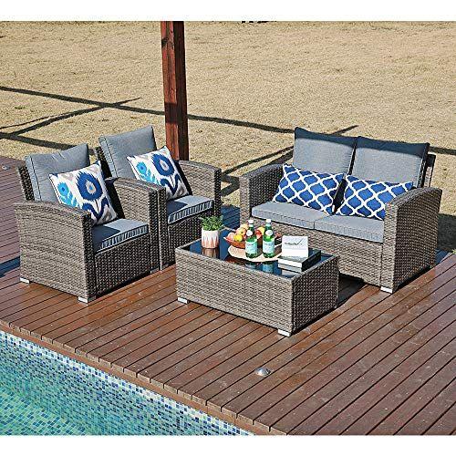 Joivi Patio Furniture Set 5 Piece Pe Rattan Sectional Outdoor