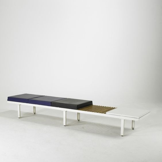 George Nelson; Enameled Metal, Maple and Laminate Bench for Herman Miller, 1950s.
