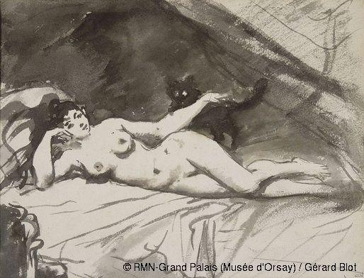 Edouard Manet, La femme au chat, 1862-1883 © RMN-Grand Palais (Musée d'Orsay) / Gérard Blot  - Me fait penser au poème de Verlaine, Femme et chatte