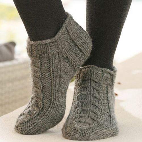 Free Knitting Patterns For Socks And Slippers : Alaska Knitted Ankle Socks - Free Pattern - Knitting-Socks, Slippers and Boot...