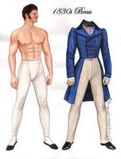1830's BEAU Romantic hero inspired by a collection of antique prints of gentleman's fashions.  1 of 3