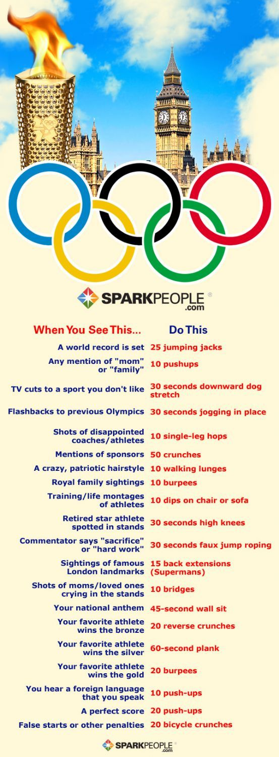 The Olympics Workout Game: Work Out While You Watch... this is great!!