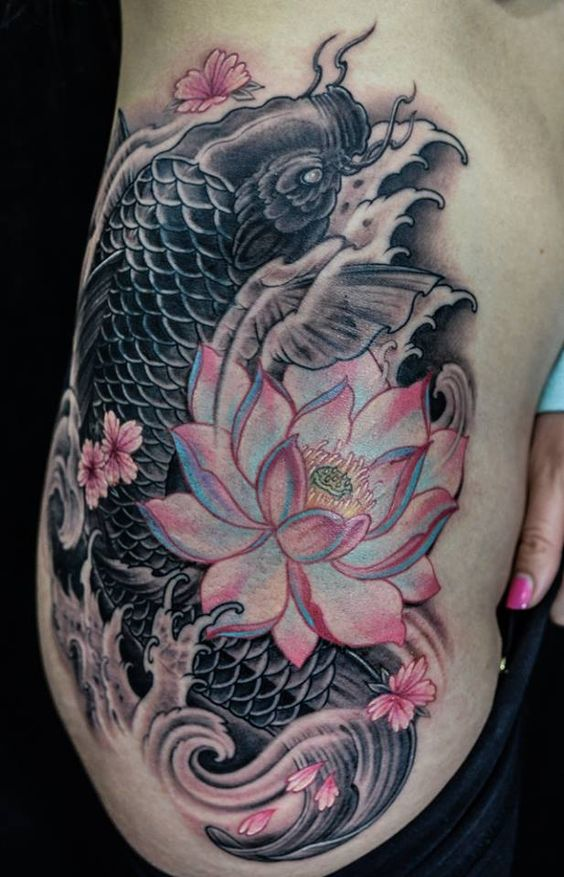 Chronic ink tattoo toronto koi fish cover up by winson for Koi fish cover up