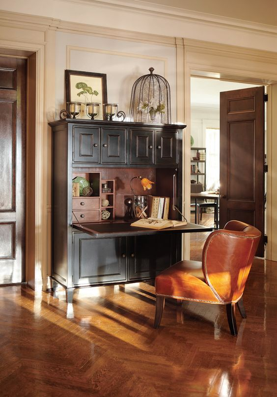 Delightful Secretary Desk With Hutch decorating ideas for Home Office Traditional design ideas with Delightful black desk brown
