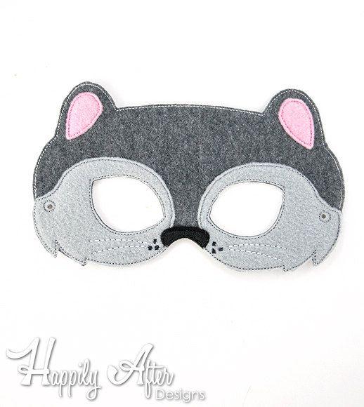 Squirrel Mask Embroidery Design squirrel by HappilyAfterDesigns