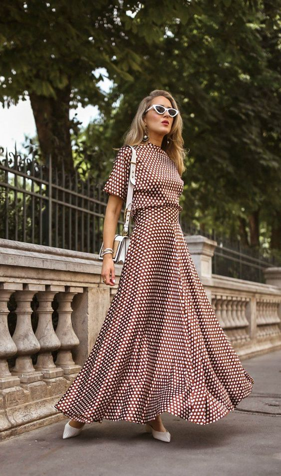 The Brown Polka Dot Set // Silk polka dot maxi skirt with coordinating polka dot high neck short sleeve blouse, white pointed toe mules, white cat eye sunglasses {DVF, Cult Gaia, classic style, Le Specs, Prada}