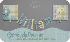 """guirlande """"Prénom"""" entre deux tableaux en appliqué de tissu représentant un chat et une souris avec une pelote de laine - tutoriel"""