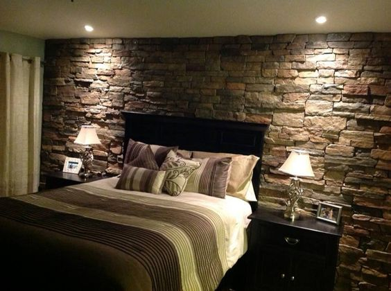 Rock Accent Wall In The Master Bedroom For The Home