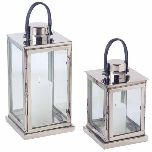 Large Stainless Steel Lantern with Leather Handle  Also Available As Small Stainless Steel Lantern 7