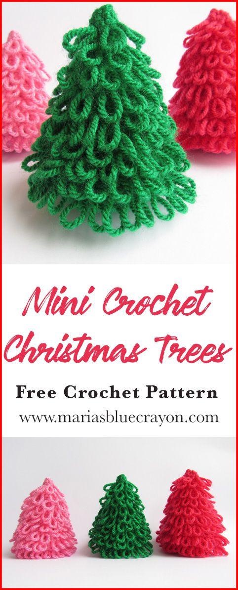 Crochet Mini Christmas Tree For Decoration Free Crochet Pattern Maria S Blue Crayon Crochet Christmas Decorations Crochet Christmas Trees Crochet Christmas Trees Ornaments