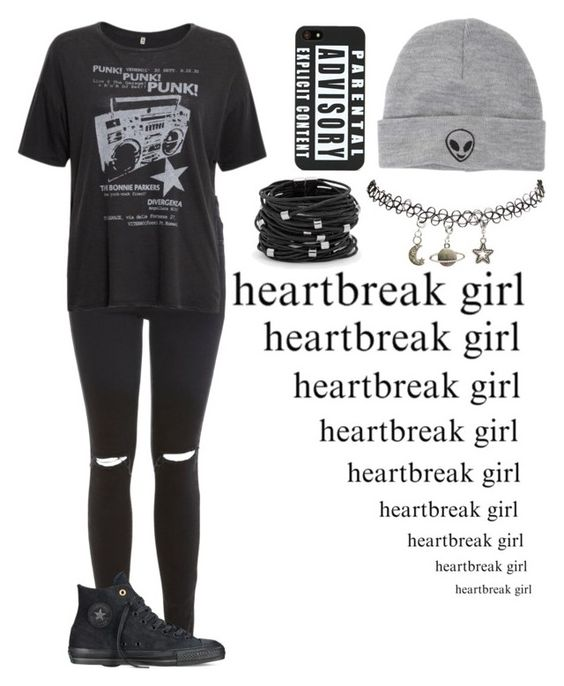 """""""We'll safety pin the pieces of our broken hearts back together"""" by punk-rock-dreamer ❤ liked on Polyvore featuring Miss Selfridge, R13, Converse, Wet Seal, With Love From CA, Chico's, women's clothing, women, female and woman"""
