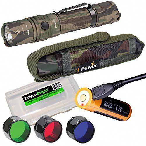 Edisonbright Fenix Pd35 Tac Camo 1000 Lumen Cree Led Tactical Flashlight Usb Rechargeable Battery Holster Red Tactical Flashlight Blue Filter Usb Rechargeable