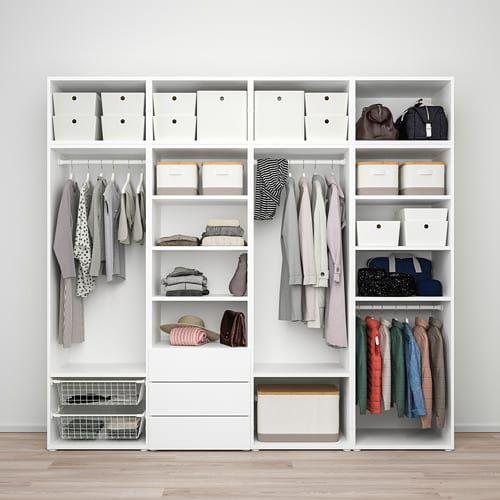 Platsa Wardrobe With 7 Doors 3 Drawers White Sannidal Ridabu Ikea Drawers Ikea Bedroom Cupboards