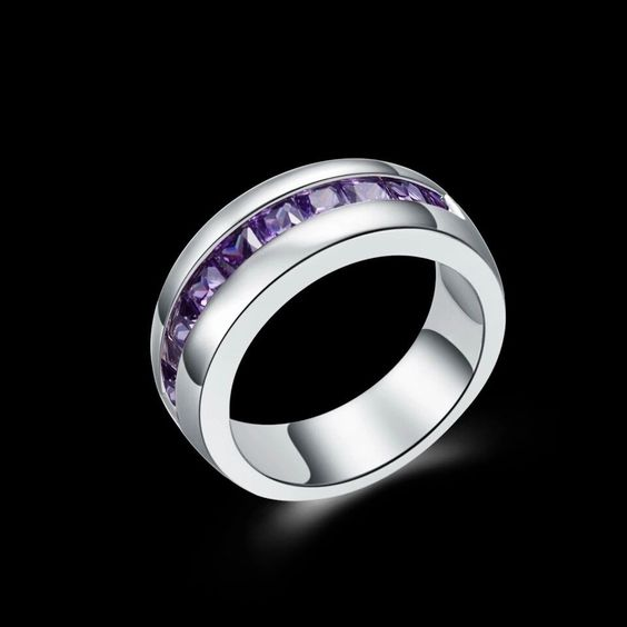Silver Plated Purple Crystal Cubic Zirconia Ring Size O