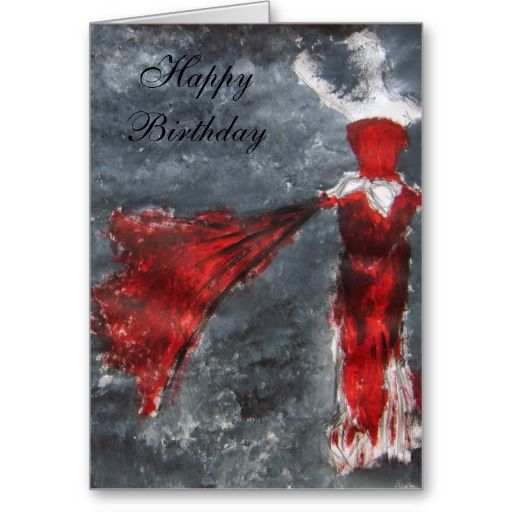Red dress in stores cards