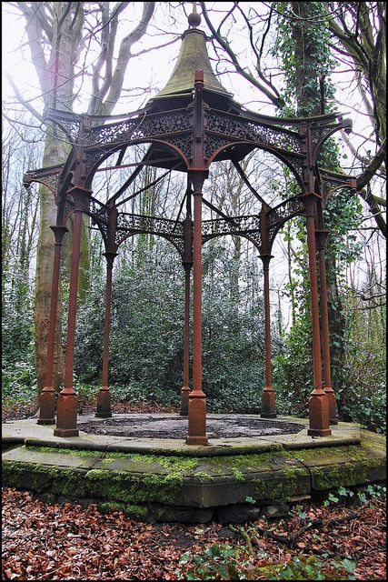 Forgotten Victorian pleasure gardens hidden away in North Leeds. I believe James Kitson, the prominent engineer and Mayor of Leeds would have been the man who had this Gazebo built.