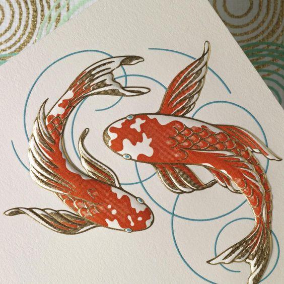 Hand engraved koi correspondence cards the koi fish an for Koi fish representation