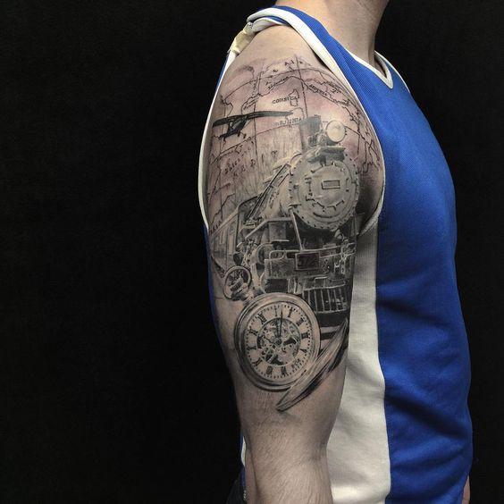 Finished this up on Nate! Thanks man! #tattoo #tattoos #tattooed #tattoos #train…