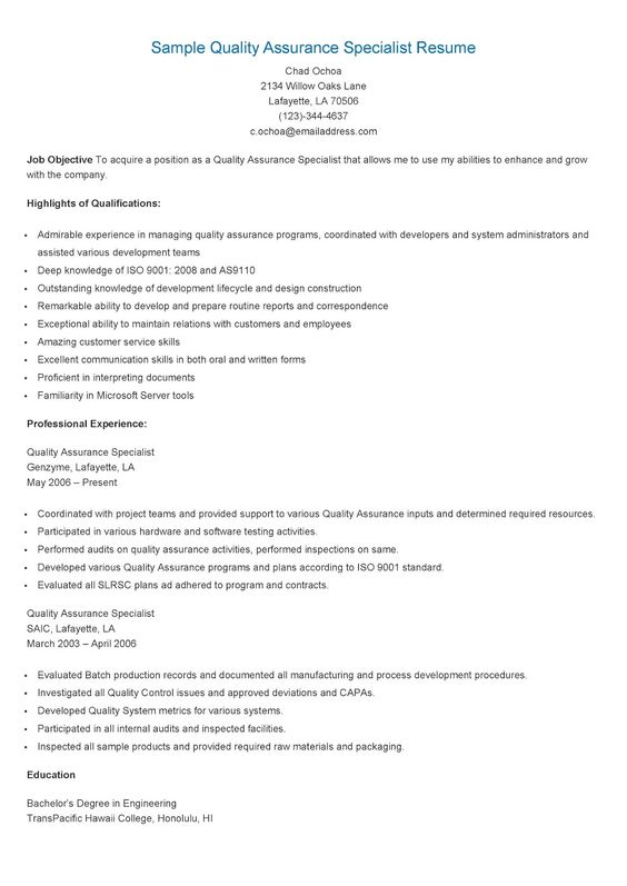 Sample Regulatory Affairs Specialist Resume resame Pinterest - quality assurance resume