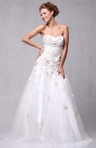 Organza Over Satin Bridal Wedding Gown with 3d Floral Detail