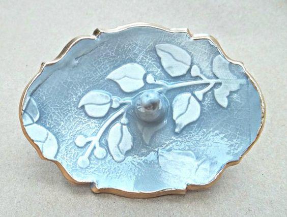Smoky gray Ceramic Ring Holder by dgordon on Etsy, $16.00