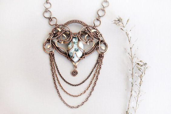 Copper necklace, Wire wrap pendant, jasperpendant, Wire wrapped jewelry, handmade, beige on Etsy, $75.00