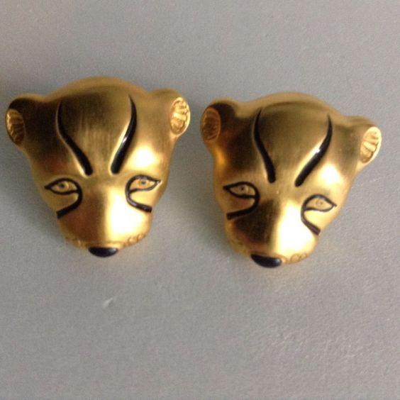 Lioness Tiger Lion Cat Earrings Pierced Stud Brushed Gold Finish Black Details  #Unbranded #Stud
