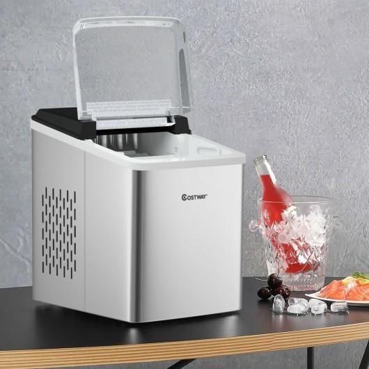 Stainless Steel 26 Lbs 24 H Self Clean Countertop Ice Maker Machine In 2021 Ice Maker Machine Ice Maker Countertops