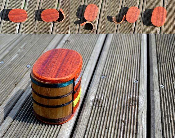 boite réversible (padouk/ bambou) - Hélène Retière
