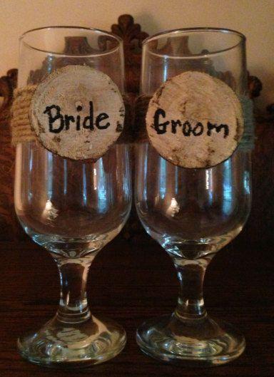 Rustic Wedding Wine Glasses on Etsy, $18.00